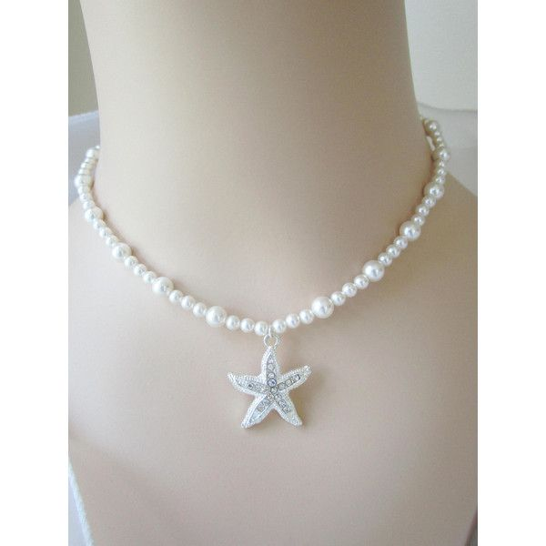 Starfish Necklace, Bridal Necklace, Rhinestone Starfish, Bridesmaid... ($32) ❤ liked on Polyvore featuring jewelry, necklaces, bride jewellery, rhinestone necklace, starfish necklace, wedding jewellery and nautical necklaces