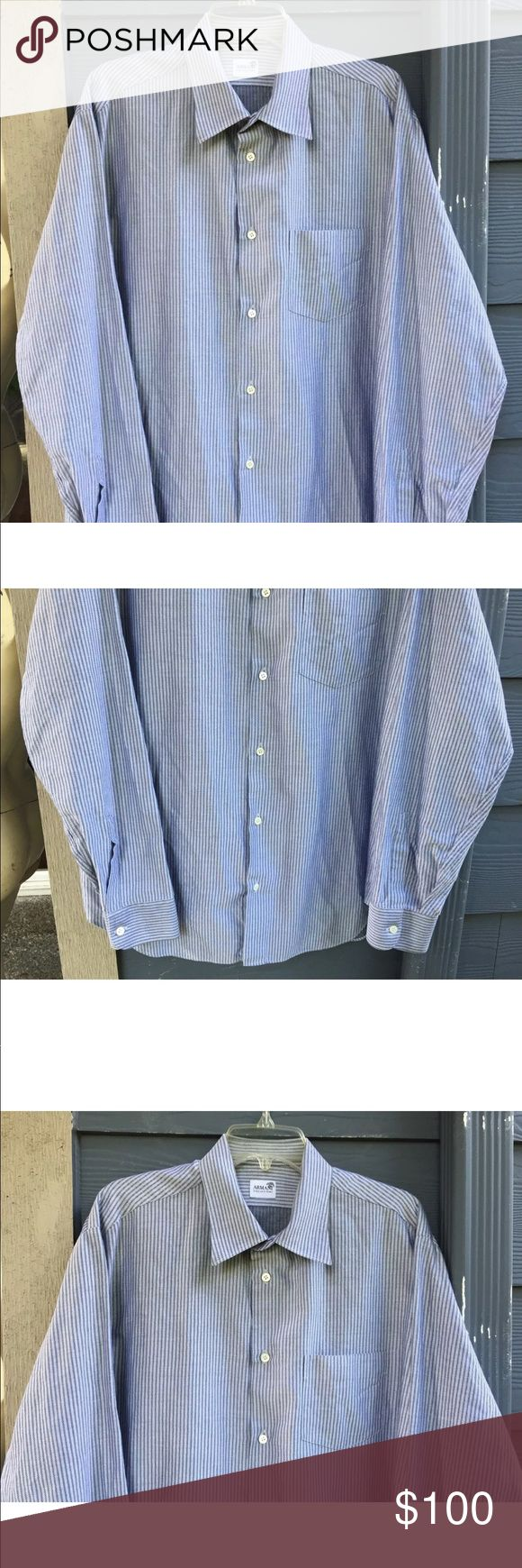 """ARMANI COLLEZIONI Men Dress Shirt Gray Sz XL R$320 ARMANI COLLEZIONI Men's Dress Shirt Gray Stripped Standard Button-Down Size XL R$320  NEW WITHOUT TAG!  Measurements laying flat approximate: Chest 24"""", waist 23 1/2"""", bottom width 24"""", length 32""""(from top of shoulder), sleeve length 25 3/4"""".  THIS GORGEOUS SHIRT HAS BEEN A DISPLAY AND TRIED ON AND OVERALL IN GREAT CONDITION!  NOTE:  PLEASE REVIEW MEASUREMENTS CAREFULLY BEFORE PURCHASING THIS ITEM SINCE SIZES SOME TIMES ARE DIFFERENT FROM…"""