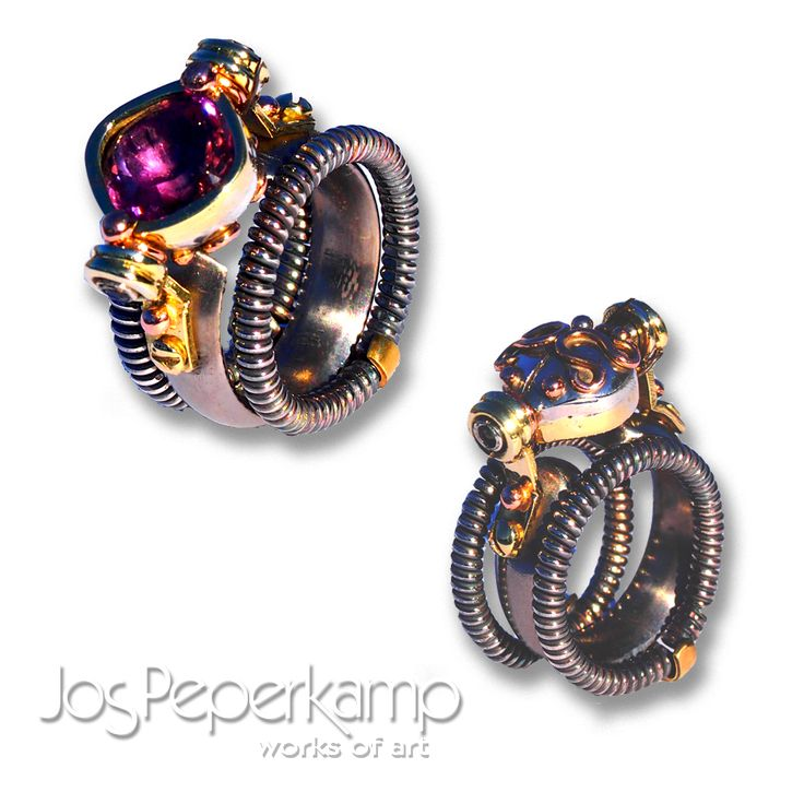 "Jos Peperkamp, works of art, inspired by STEAMPUNK, ""ring"" made of, Titanium, white, yellow and red gold, silver, 2 x black diamond and Amethyst"