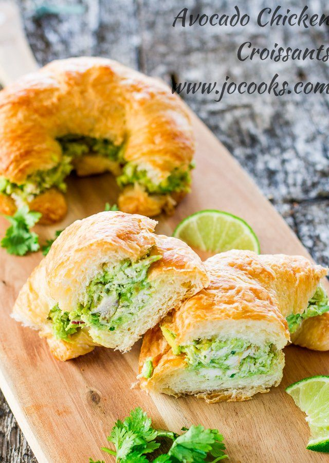 Avocado Chicken Croissants filled with lime, red onion, and cilantro over buttery flaky croissants