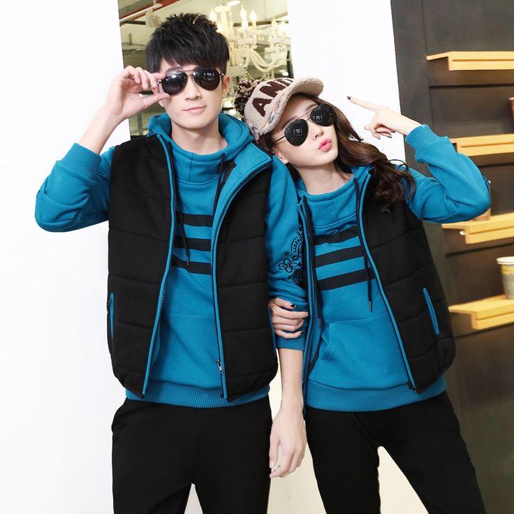 Новый набор толстый свитер три пары мужчин и женщин в зимней спортивной зимние пальто и костюмы досуг кашемира спортивная одежда