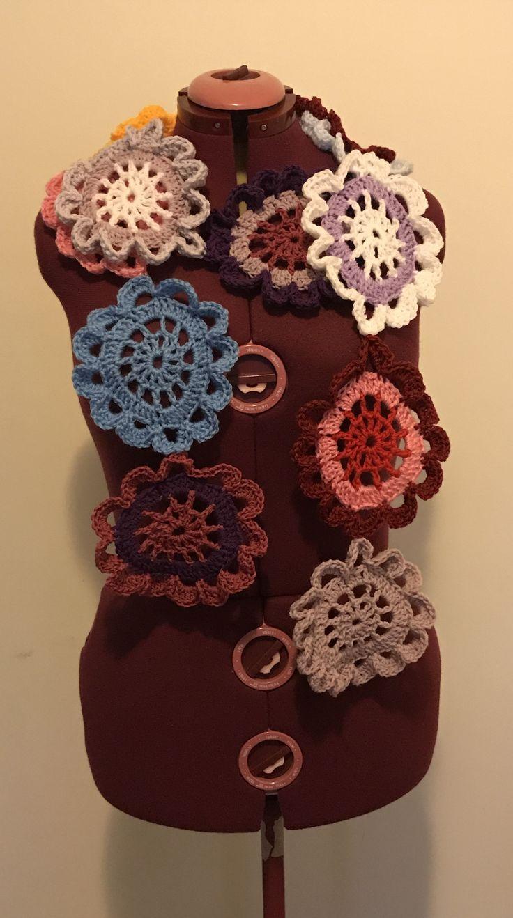 ETSY CRAFTYCHICHANDMADE.Crocheted Japanese flower scarf from CraftyChicHandmade