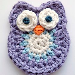 This cute little owl will look lovely on a crocheted hat, bag or blanket...
