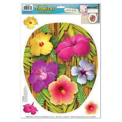 The Beistle Company Tropical Toilet Seat Decal