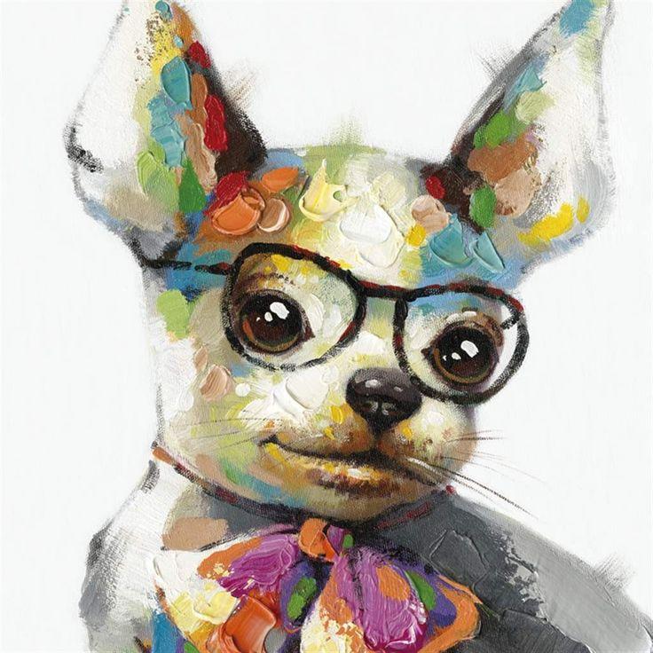 Peinture l 39 huile color e avec image d 39 un chien id es - Idee tableau facile ...