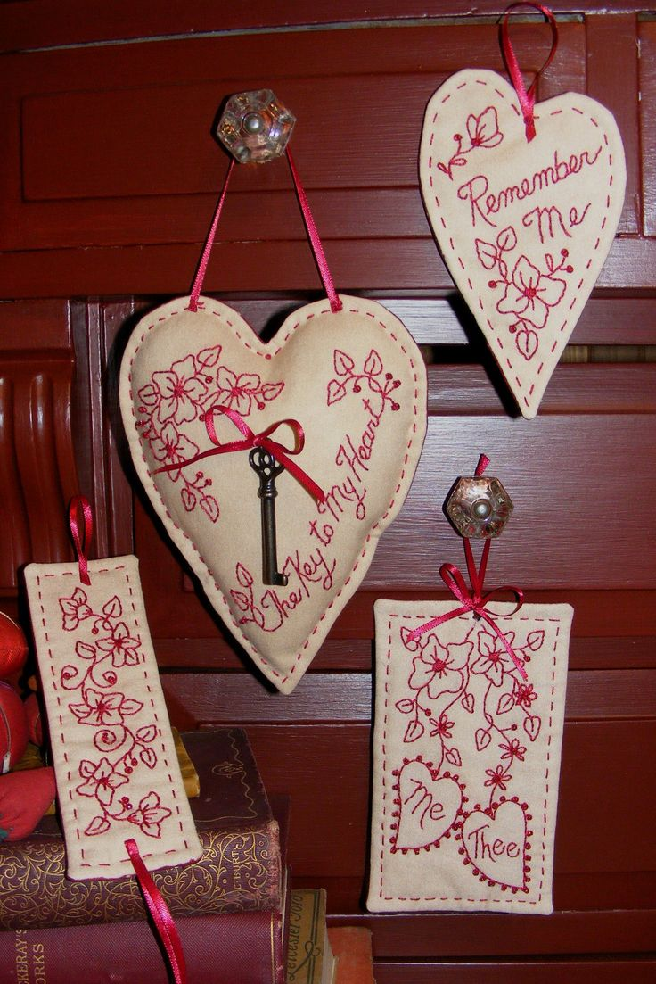 Key to my heart redwork four thoughtful embroidered