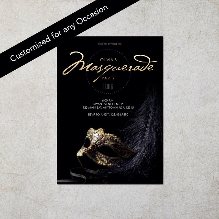 Black Masquerade Invitation - Invitacion de Mascarada Negra: Digital File by InkedPrintables on Etsy https://www.etsy.com/au/listing/255821210/black-masquerade-invitation-invitacion