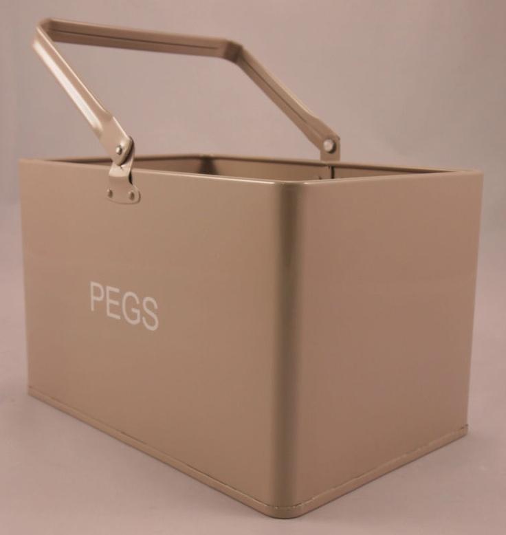 Steady Sticks Retro Kitchen enamel taupe peg bucket, laundry