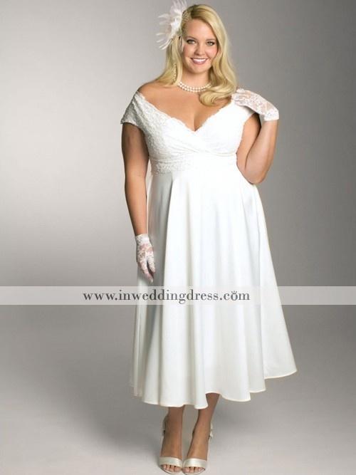 Short Empire Lace Plus Size Wedding Dress With Short
