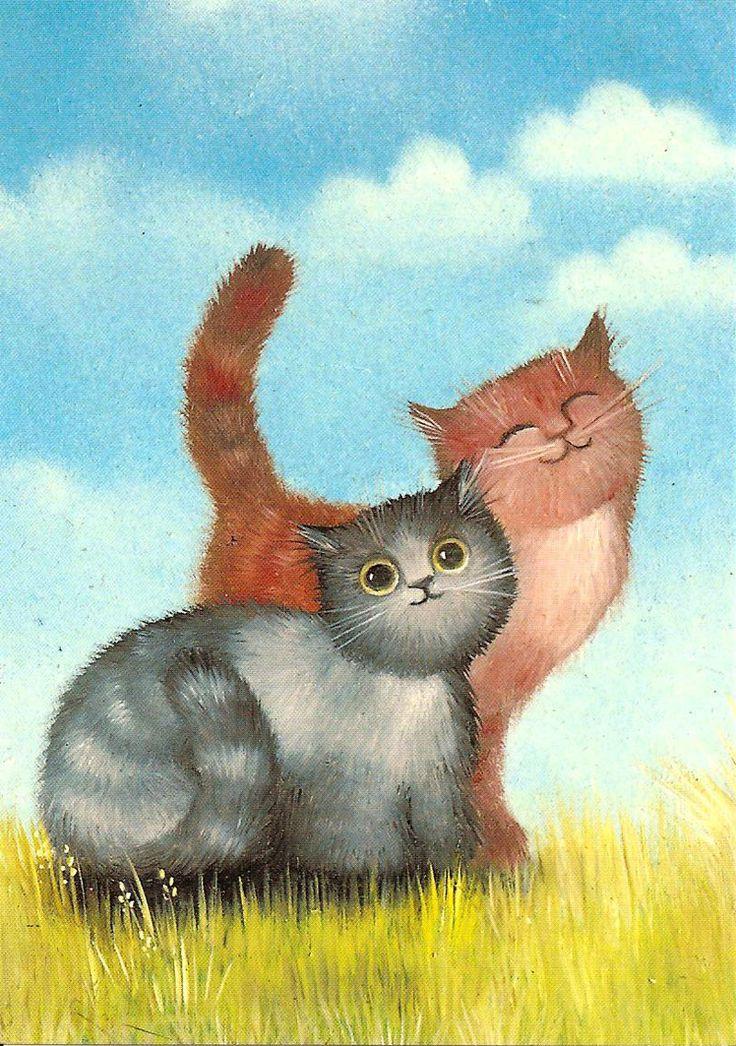 Два кота картинки рисованные
