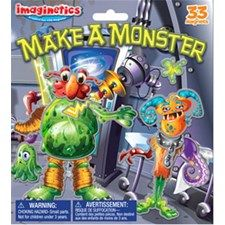 """Contains one playboard and two magnetic sheets. Thirty-three colorful pieces are included in this Monster themed set. Open playboard measures 14 1/2"""" x 8"""". #monster #makeamonster #magnets #imaginetics"""