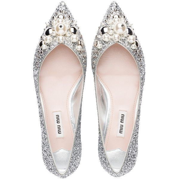 Glitter Ballerinas with Pearls and Studs (2 310d12a7d