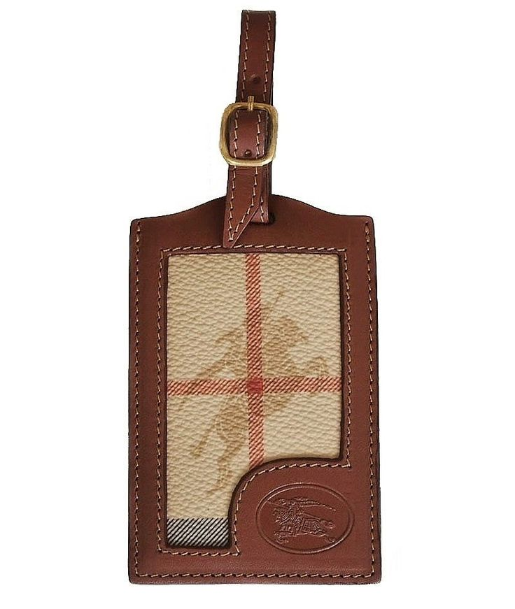 BURBERRY'S OF LONDON BROWN LEATHER TARTAN LUGGAGE TAG #BurberrysofLondon