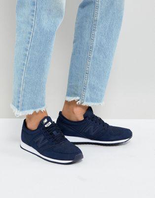 New Balance - 420 - Baskets en daim perforé - Bleu marine