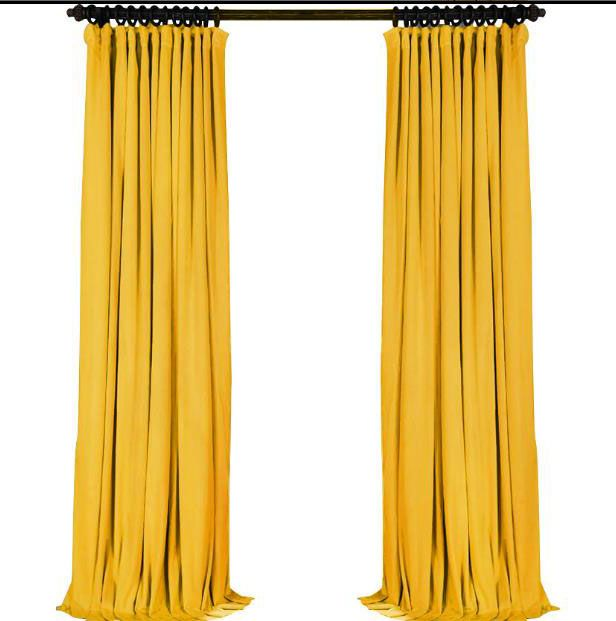Bright Yellow Velvet Curtains Solid Color Drapes Velvet Curtains Curtains Bright Curtains