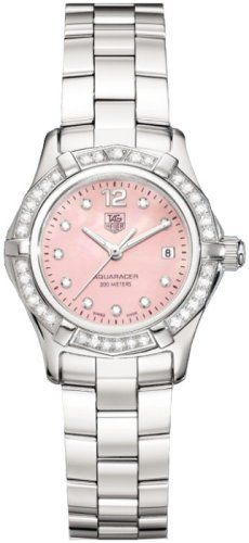 #diamondwatchesforwomen TAG Heuer Women's WAF141B.BA0813 Aquaracer Diamond Accented Watch Check https://www.carrywatches.com