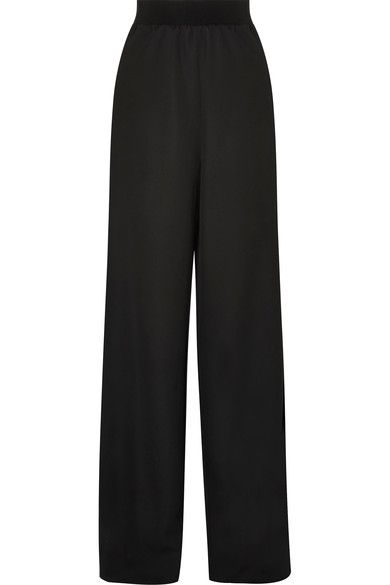 Buy Cheap For Nice Satin-trimmed Wool Wide-leg Pants - Black Maison Martin Margiela Clearance Comfortable FTmhrlN