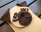 Pug iPhone Case - Dog Felt Phone Cover -  Cell Phone Sleeve - Handmade felt case
