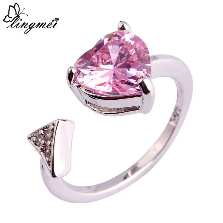 Lingmei all'ingrosso a forma di cuore rosa bianco cz aaa silver ring size 6 7 8 9 10 11 Donne di Modo di Fidanzamento di Barretta Dei Monili anelli