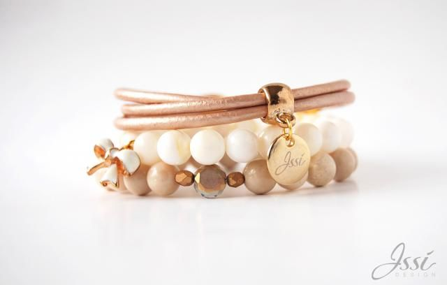 ISSI bracelets set with natural stones and gold plattered silver. Shipping worldwide! Www.issi.com.pl