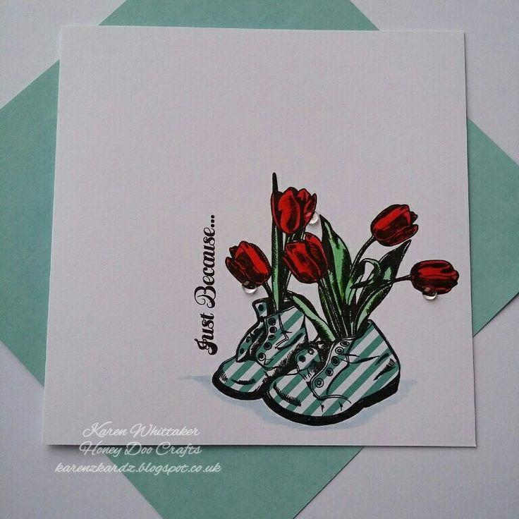 Welcome Spring stamp set by Honey Doo Crafts  #honeydoocrafts #dtsample #welcomespring #flowers #boots #paperpiecing #kuretakezig #stamps #stamping #card #creative #craft #ilovetocraft #creativity