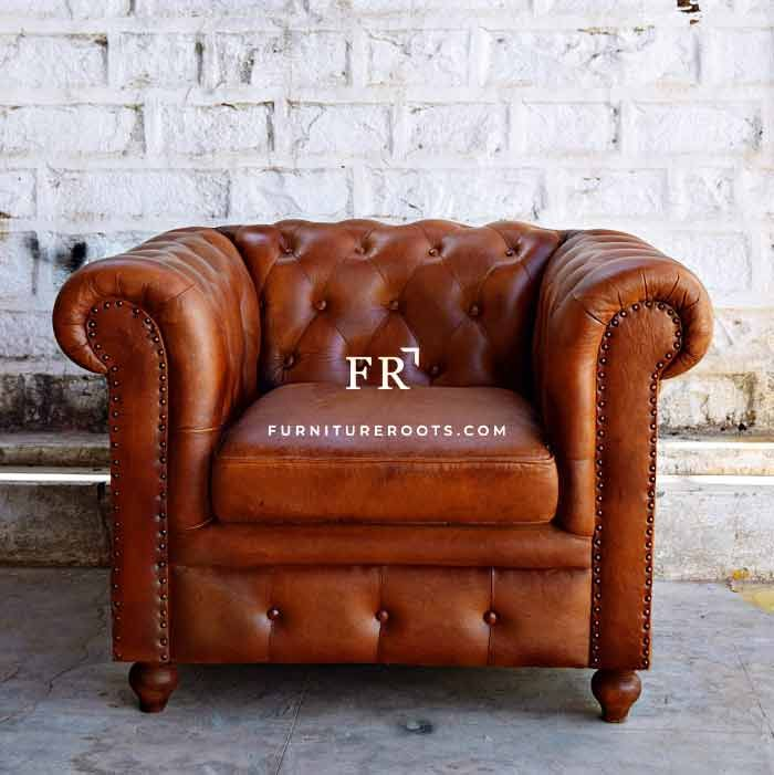 Old Pro Chesterfield Single Seater Single Seater Sofa Sofa Handmade Leather Living Room Furniture