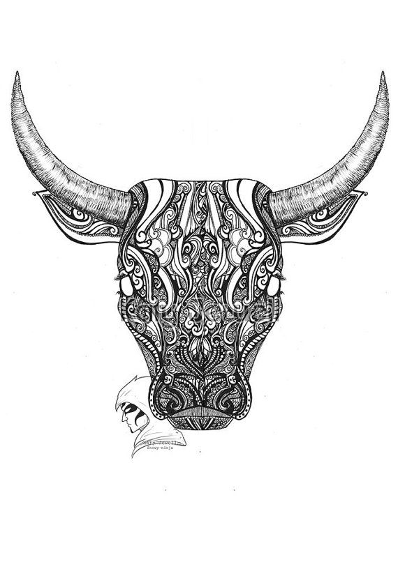 black and white limited edition A2 Taurus Giclee Print by SnowyArt - I would want it in color w/out the man. ~D