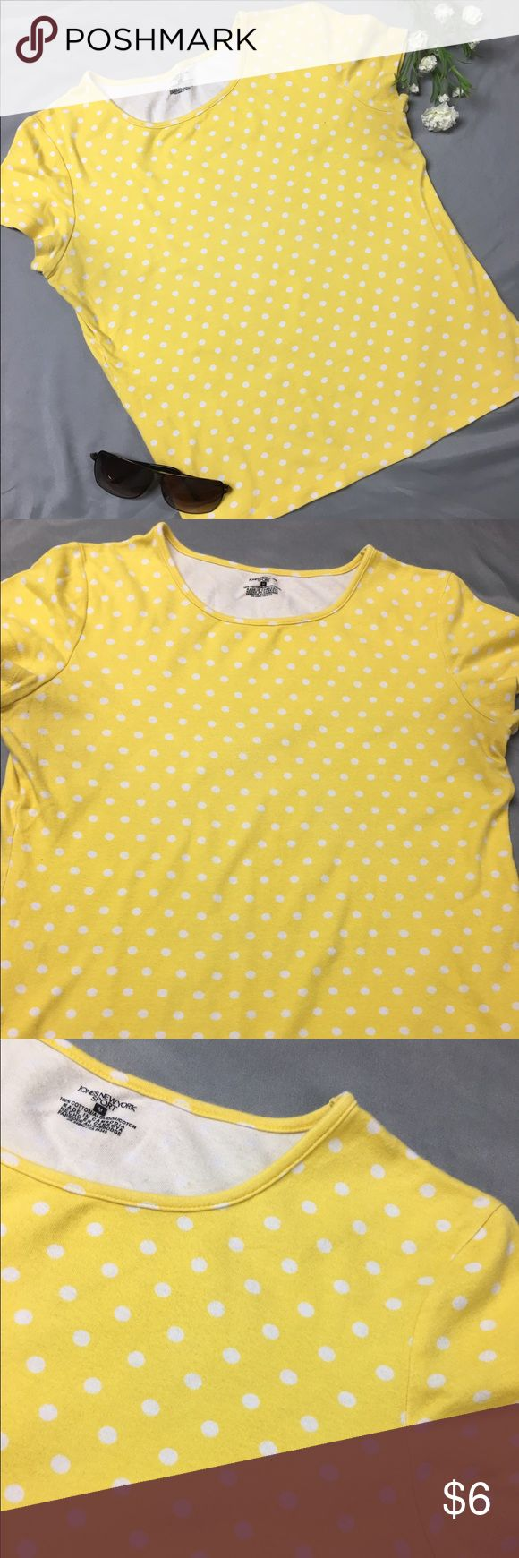Sunshine Yellow and White Polka Dot Tee Yellow short sleeve shirt with white polka dots. Pair with an awesome pair of skinny jeans and cute flats for the perfect summer outfit. Jones New York Tops Tees - Short Sleeve