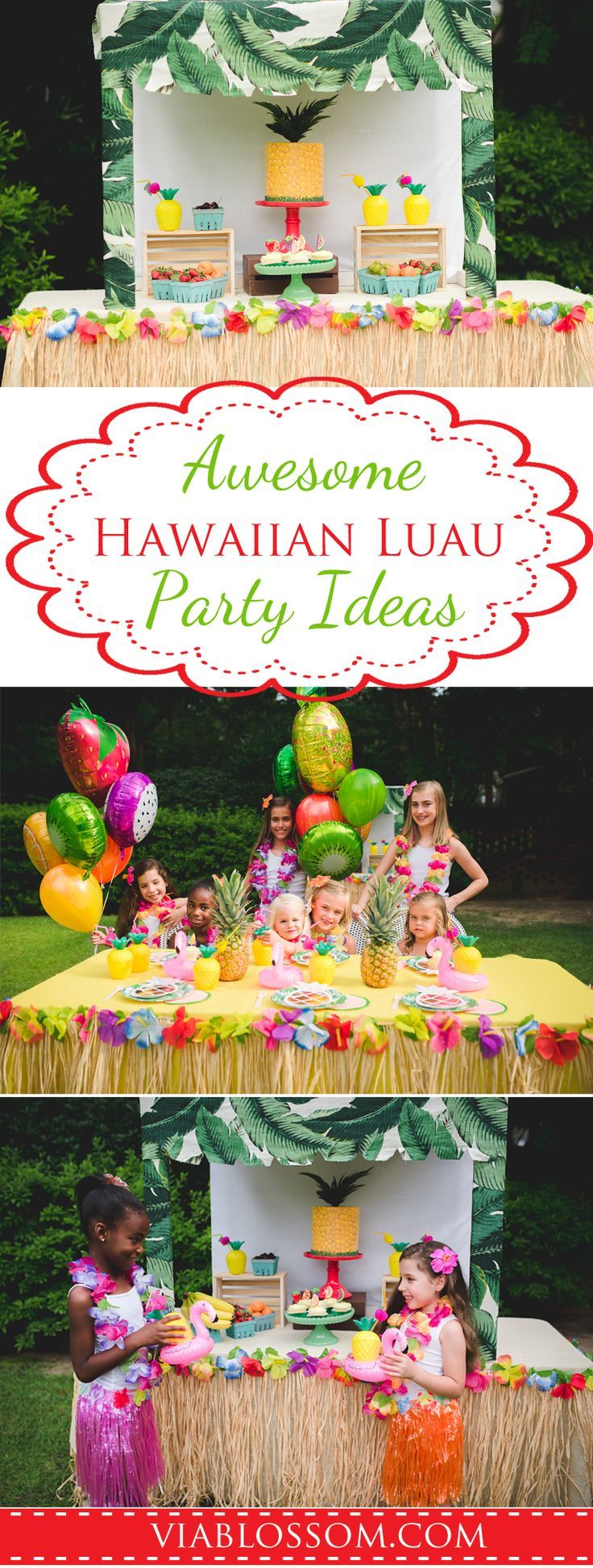 Fabulous Hawaiian Luau Party Ideas and decorations for an awesome Summer Party!! All the Luau Party Supplies for your Tropical Party or Tutti Frutti Party or Moana Party!