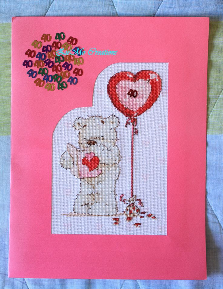 Lickle Ted | cross stitch card