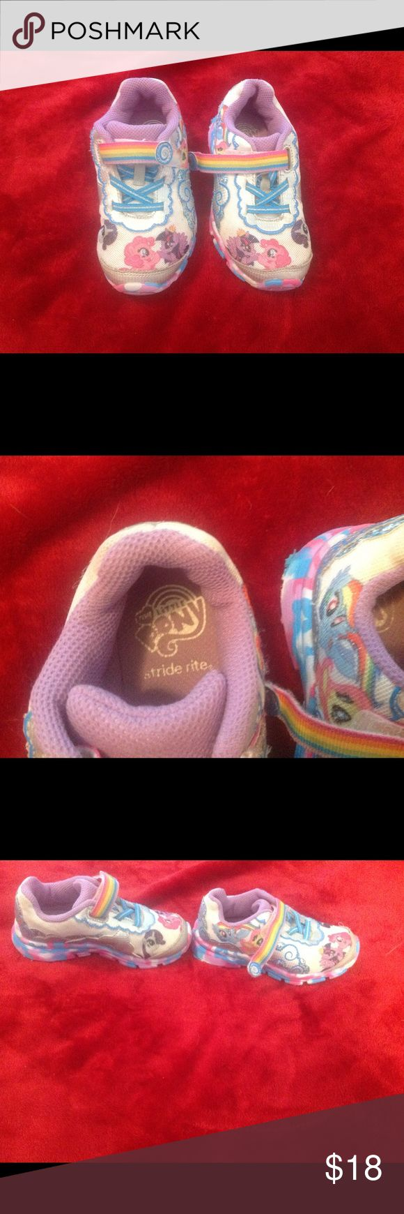 My Little Pony Light up Sneakers. Toddler Girl Velcro fastening. Working lights. Still has a lot of wear to go. Thanks! Stride Rite Shoes Sneakers