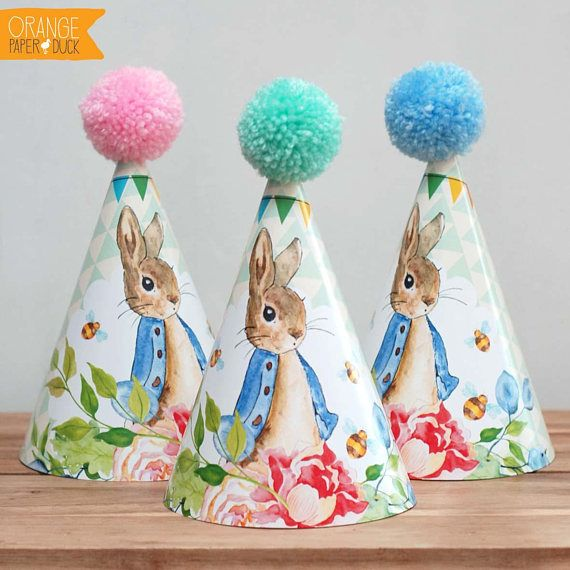 6 X Peter Rabbit Childrens Party Hats These playful personalised party hats are perfect for your childs birthday woodland party. Fun and cute they will brighten up any celebration! The party hats will arrive flat packed to ensure a safe journey. They are printed on quality cardstock