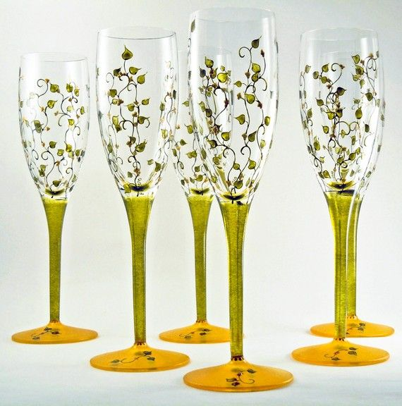1000 images about champagne flutes on pinterest - Hand blown champagne flutes ...