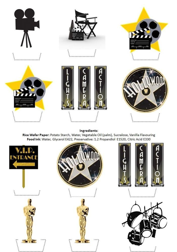 Hollywood Cinema Movie Themed Stand Up Cupcake Toppers Topper Edible Rice Paper