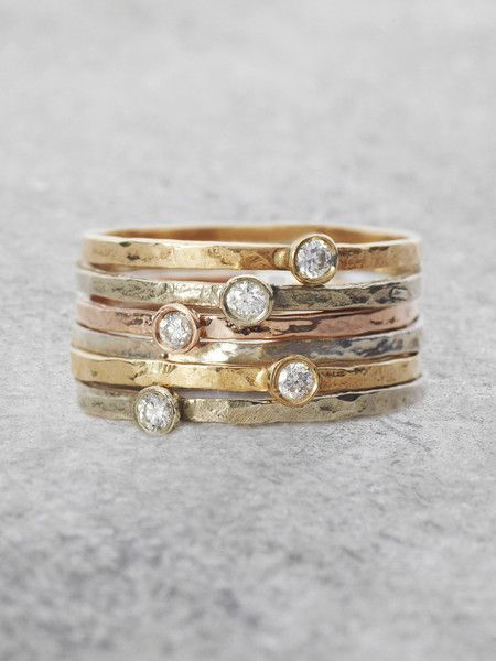 Solitaire Diamond Stacking Rings   – Mode – Fashion