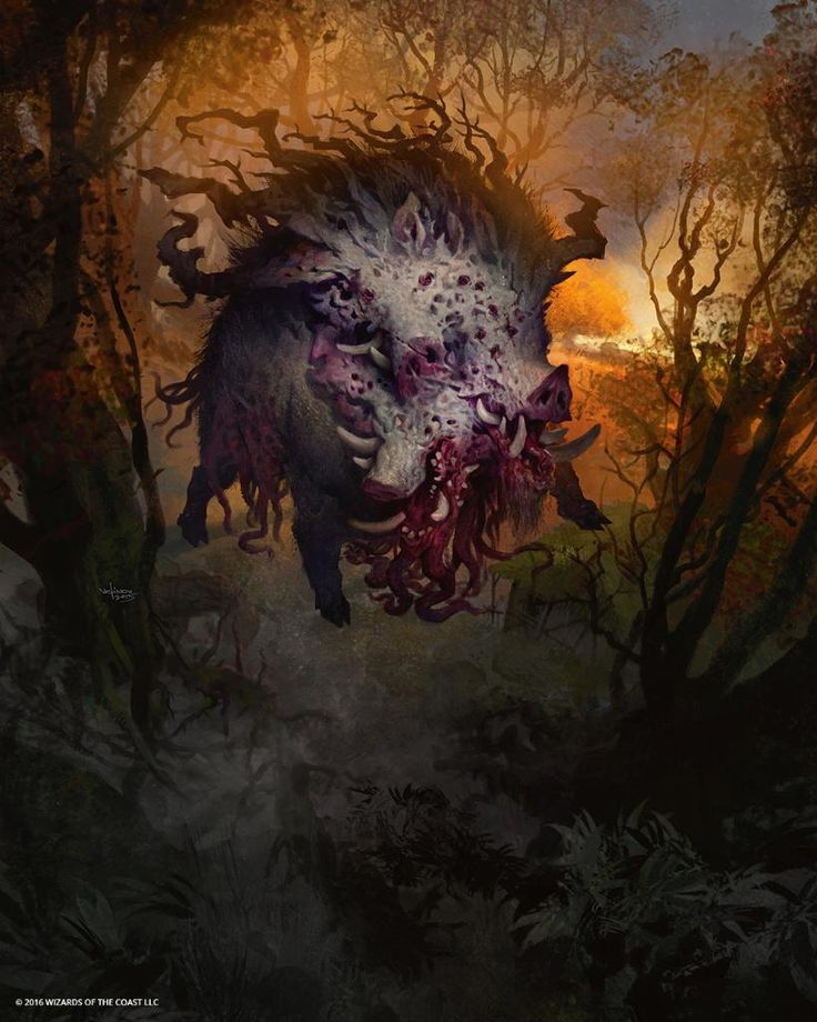 e621 eldritch_horror feral forest front_view hooves magic_the_gathering mammal monster multi_mouth nightmare_fuel official_art outside porcine quadruped signature solo svetlin_velinov teeth tentacles tree tusks