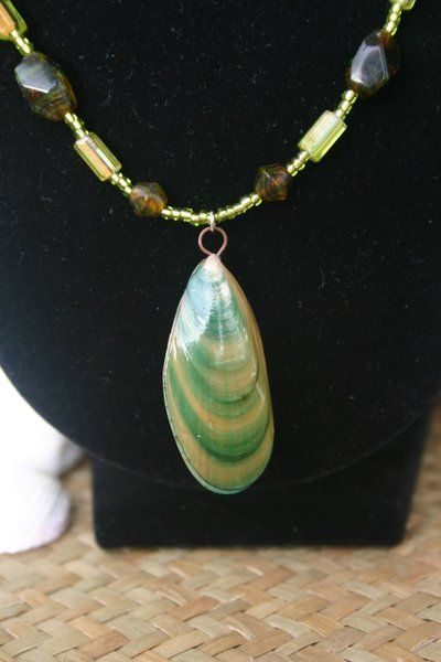 Green lip mussels from New Zealand turned into jewelry. #jewelry #handmade