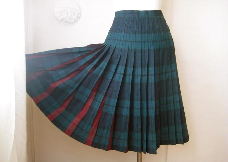Vintage 1950s Skirt Pendleton Plaid Reversible Wool