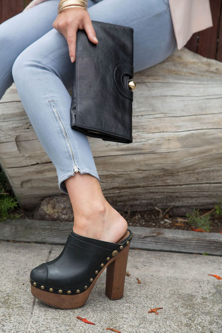 I love my black wooden heel clogs from Chanel