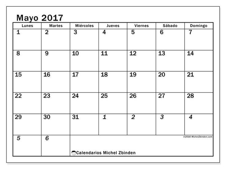 Gratis! Calendarios para mayo 2017 para imprimir - España