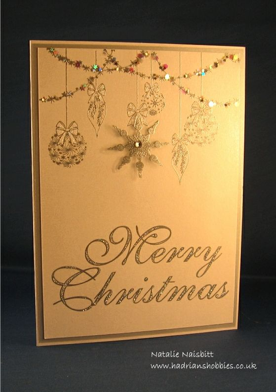 Card made with Stamps by Chloe Sparkling Baubles and Large Merry Christmas stamps