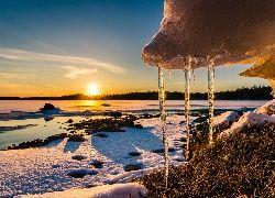 Zima, Wschód słońca, Sople, Śnieg