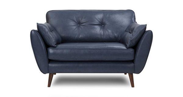 Zinc Leather Cuddler Chair
