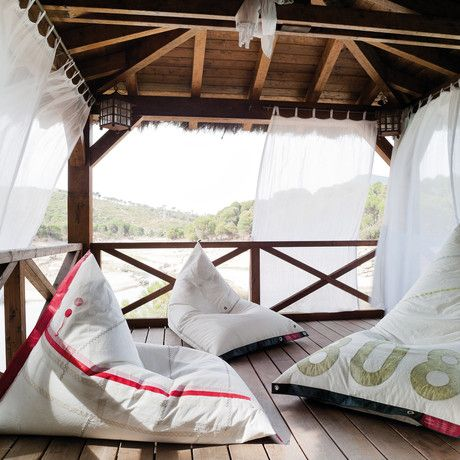 recycled sail - bean bag chairs for lounging by the sea - by Dvelas of Spain