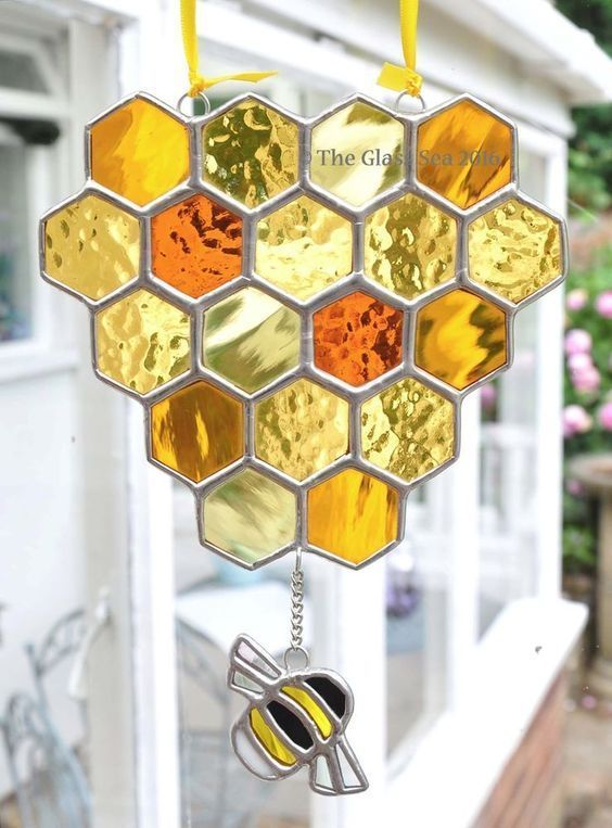 A Honeycomb & Bee Stained Glass Art Suncatcher Beekeeping Handmade The Glass Sea #StainedGlassPanels #StainedGlassSea