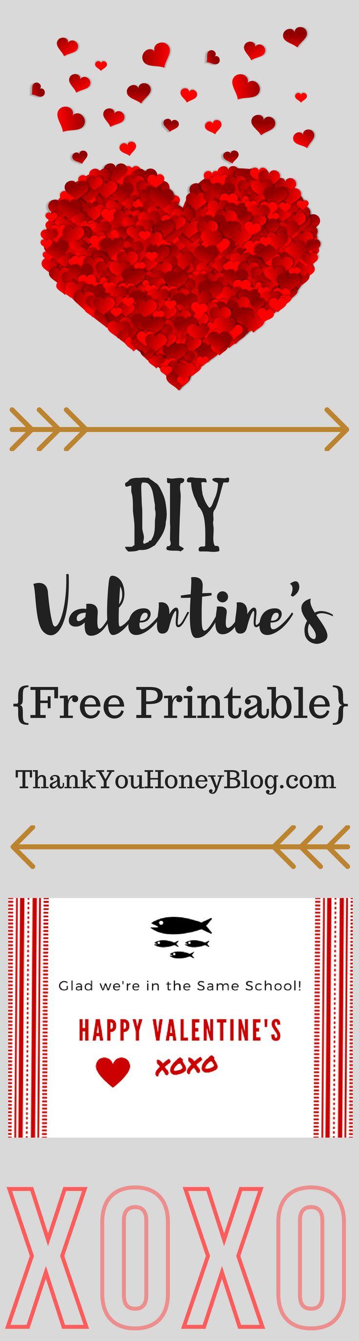 DIY Valentine's {Free Printables},#ValentinesDay, Adorable #HomemadeValentines, Last Minute Valentines, DIY Valentines, #Craft, #DIY, Homemade, #LastMinute, #Valentines, Kids, Kids Valentines