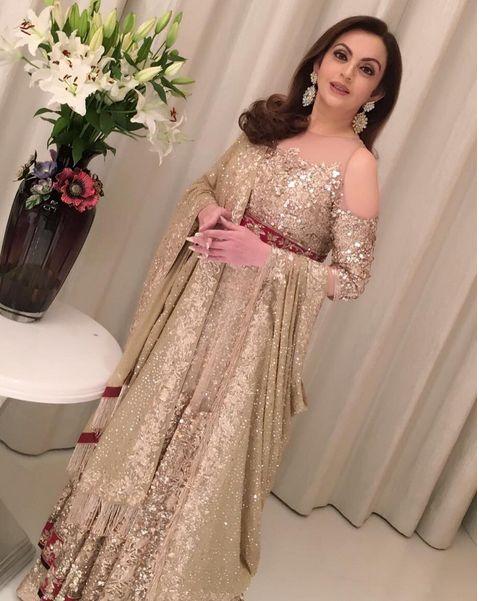Nita Ambani In A Golden Gown By Manish Malhotra