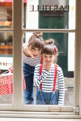 kids fashion, girls fashion, mother daughter, twins, stripes, hair, buns, fashion