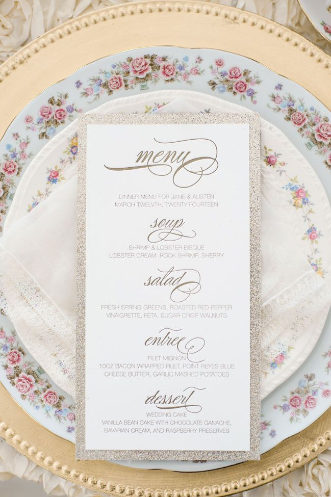 Mixed china place setting with glitter accented menu   Glamorous English Garden Wedding At Laurel Hall Indianapolis   Photograph by Anya Albonetti Photography  http://storyboardwedding.com/english-garden-wedding-laurel-hall-indianapolis/ #englishgardens #gardenweddings