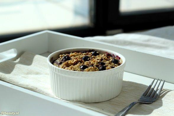 Recept: Gebakken havermout met bosbessen! (glutenvrij) Baked oat meal carb free paleo